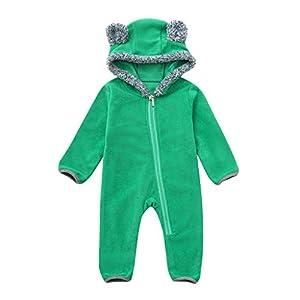 XXYsm Baby Mädchen Overall Jungen Babybody Strampler mit Kapuze Cartoon Ohren Winter Langarm Schlafstrampler Jumpsuit