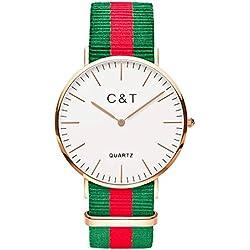 C+T Watch CT-9 wristwatch Gold Nylon Nato Strap Red Green