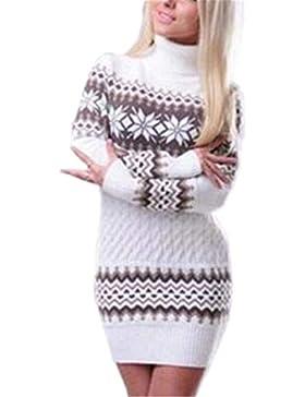 Jersey Cuello Alto Mujer Invierno Fashion Halloween Copo De Nieve Suéter De Punto Manga Larga High Collar Mode...