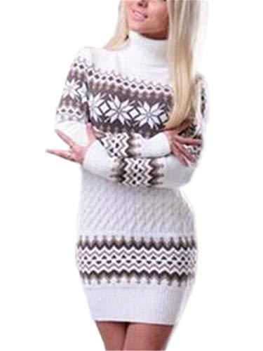 (Damen Rollkragenpullover Winter Fashion Halloween Schneeflocke Strickpulli Langarm Vintage Slim Fit Hoher Kragen Elegante Mädchen Warme Grobstrick Longpullover Sweater (Color : Weiß, Size : XL))