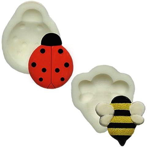 Moldes de silicona - Juego de dos - abeja y diseño de mariquita - apto para alimentos