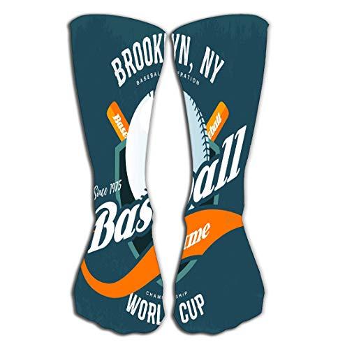 No Soy Como Tu Hohe Socken Outdoor Sports Men Women High Socks Stocking Bats Behind Baseball Ball Shield Logo Symbol Sport Club Brooklyn New York World Cup Championship Cloth Tile Length 19.7