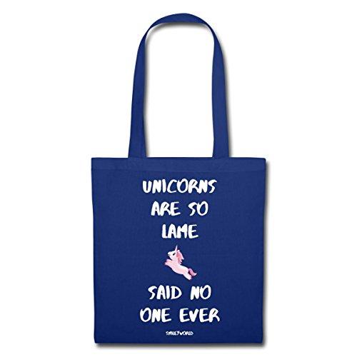 Spreadshirt Smiley Mondo Unicorni Arent Lame Dicendo Stoffa Blu Royal