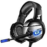 ONIKUMA Gaming Headset 7.1 LED Bass Surround Noise Cancelling mit Mikrofon 3,5mm Stumm-und...