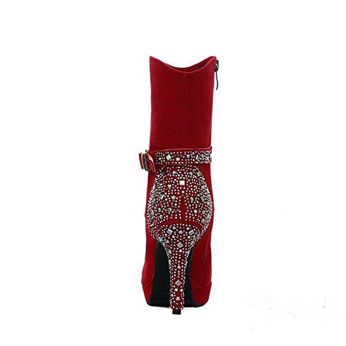 VogueZone009 Femme à Talon Haut Haut Bas Suédé Zip Bottes avec Métal Rouge