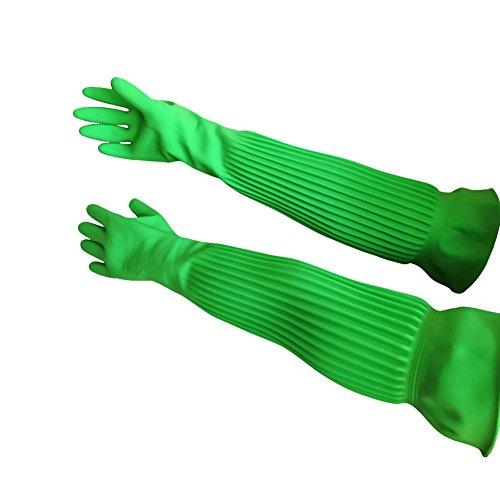 Hangnuo Gummihandschuhe / Latexhandschuhe Ellenbogen-Länge, wiederverwendbar, wasserdicht für Garten, Reinigung, Abwaschen, 58 cm, Grün, 1 Paar, Large