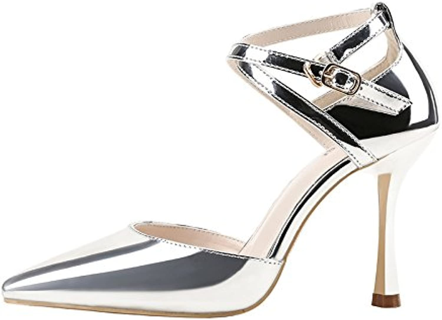 LGK&FA Pointed Shoes Patent Leather Metal Sandals OL High Heels Cross Ties Single Shoes Women's Silver. Thirty-Six...
