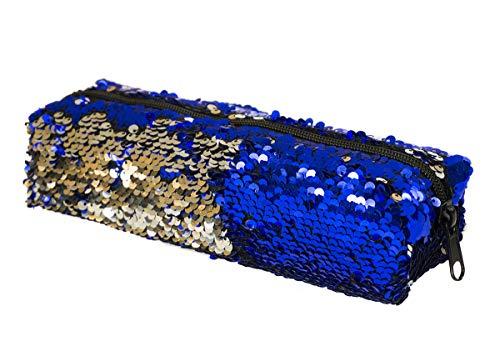 Ferocity Trousse Scolaire Sequins Deux Tons réversible Trousse Maquillage– avec Paillettes Couleur Brillante Sac de Rangement Bleu-Argent [008]