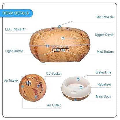 Carriea-Aroma-Diffuser-550ml-Ultraschall-l-Diffusor-LED-mit-7-Licht-Farben-Duftzerstuber-Duftlampe-Humidifier-Aromatherapie-Luftbefeuchter-Holzmaserung-Dunkel-Yoga-Salon-Wohn-Schlaf-Kinderzimmer