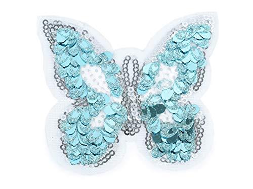gedeacc-kreativ Bügelbild Patch Applikation zum Aufbügeln Schmetterling mit Glitzer Pailletten blau 7,5 cm x 8,5 cm -