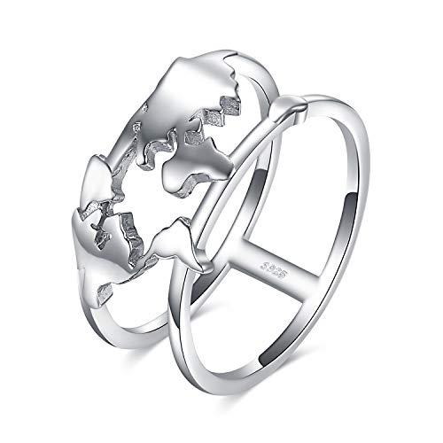 Jewelrypalace Bague à Deux Ensembles en Forme Carte du Monde Split Shank Anneau à Double Bande Déclaration en Argent Sterling 925