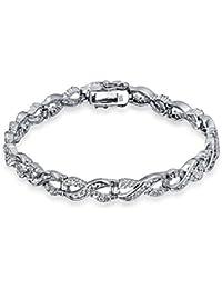 Bling Jewelry Infinity Figure Eight CZ Tennis Bracelet 925 Sterling Silver 7.5in