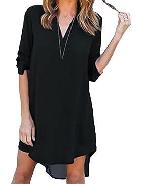 Scothen Mini camisa de gasa vestido de manga larga con cuello en V vestido de camisa casual mini vestido de gasa...