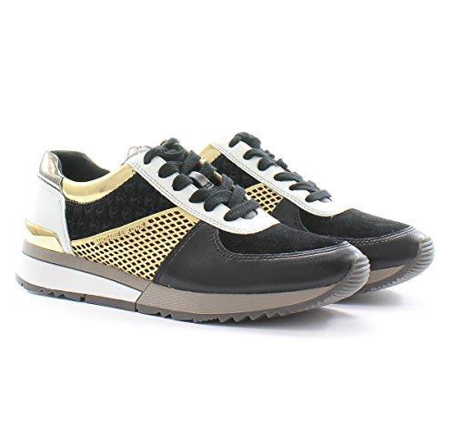 Michael Kors Sneakers Allie Trainer Black Gold Metallic Nappa Black Gold