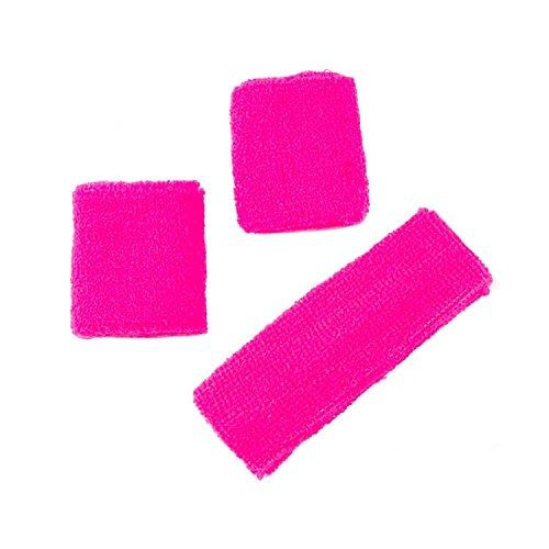 90er Jahre Lustige Kostüm - Neon-Stirnband und passende Armbänder - Schweißbänder im 80er Jahre Stil Neon Hot Pink 1 x headband + 2 x wristband