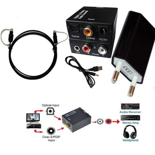 easyday Audio Convertidor de Digital (Toslink Optical Optic y coaxial) a analógico (Cinch RCA)–Digital a analógico Audio corriente con fuente de alimentación y cable Toslink salida jack de 3,5mm