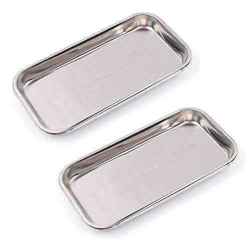 Nuomi Medizinisches Tablett aus Edelstahl, für Instrumente, 2 Stück
