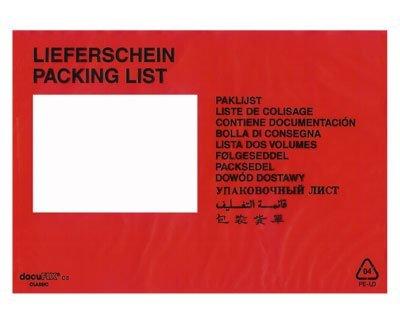 250 Stk. DOCUFIX Dokumententaschen *Lieferschein*, C5 240x160+15mm