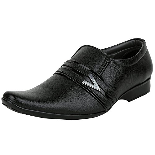 Shoe Fab Men's Black Slip on Formal Shoes
