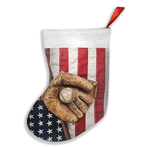 Declam Holidays Christmas Stockings - Vintage Baseball League Equipment with USA American Flag Stocking with White Polyester Cuff