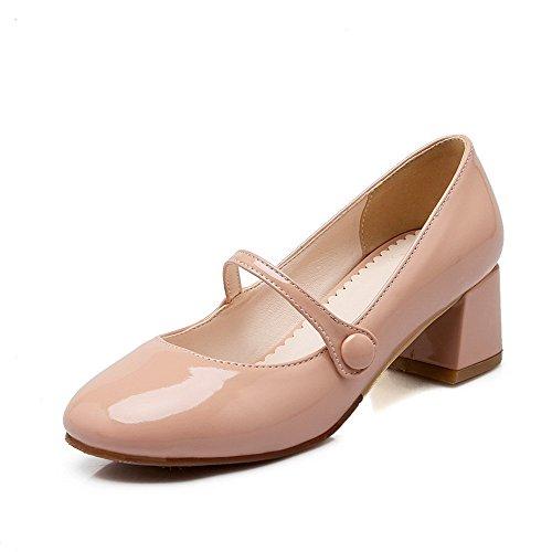 VogueZone009 Damen Mittler Absatz Rein Ziehen Auf Quadratisch Zehe Pumps Schuhe Pink