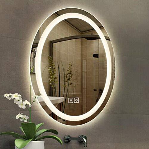 LUVODI Espejo de Baño Moderno con Iluminación LED Espejo Redondo Baño Pared con Interruptor Táctil...