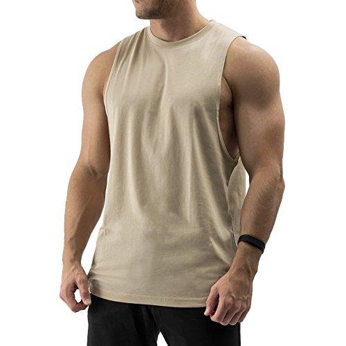 Preisvergleich Produktbild CORE Studios Essentials Cut Off Tank Top Muskelshirt Gym Fitness (M, Sand)