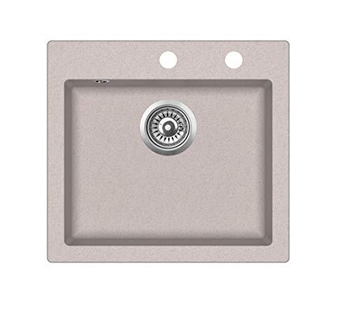 Spüle Spülbecken Granit 46x49 cm Einzelbecken Küche Einbauspüle Küchenspüle beige reversibel + Drexexcenter + Siphon