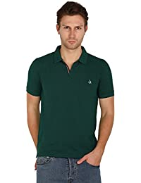 UNI COLORS POLO T-Shirts For Men's In Jhony Collar Pattern Half Sleeves Smart Fit For Ultimate Youth (T.green...