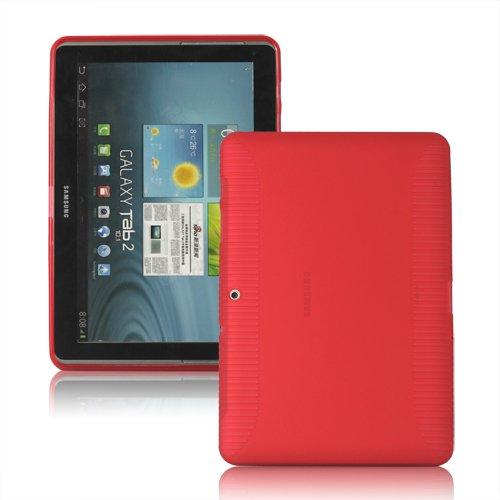 [A4E] Samsung Galaxy Tab 2 10.1 P5100 P5110 TPU Schutzhülle Hülle Case Zubehör Tasche, formbeständiges TPU / Silikon in rot