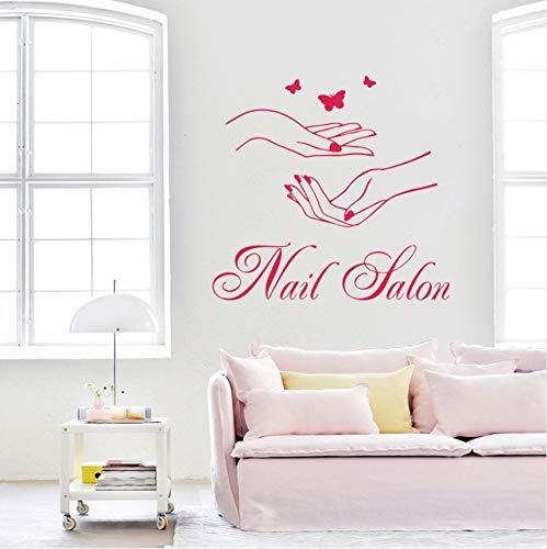 Wuyyii Nägel Salon Vinyl Wandaufkleber Schönheit Maniküre Schmetterlinge An Der Wand Aufkleber Schlafzimmer SalonWanddekorDekoration58X61 CmB