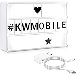 kwmobile Boîte à lumière A5 - Boîte lumineuse cinéma LED - Lightbox changement de couleur et 126 lettres en noir - Pile ou secteur - 20 x 15 cm