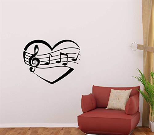 Vinilos De Pared Clave de sol Sol Clave Corazón Música de pared Notas...
