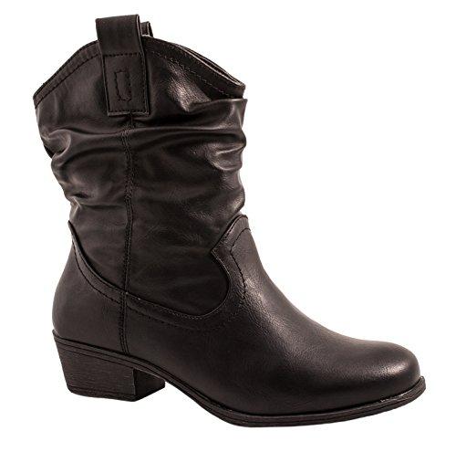 Elara Damen Schlupf Stiefel | Reiter Stiefeletten | Biker Boots Kult | Gefüttert (37, Schwarz Fell)