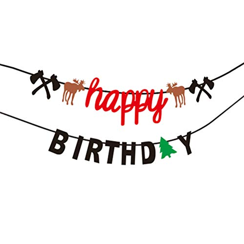 Amosfun alles Gute zum Geburtstag Banner Cake Topper Set Holzfäller Tier Girlande Cupcake Topper für Hunter Camping unter dem Motto Wald Wald Thema Party Decor