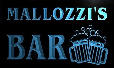 w027304-b MALLOZZI'S Nom Accueil Bar Pub Beer Mugs Cheers Neon Sign Biere Enseigne Lumineuse