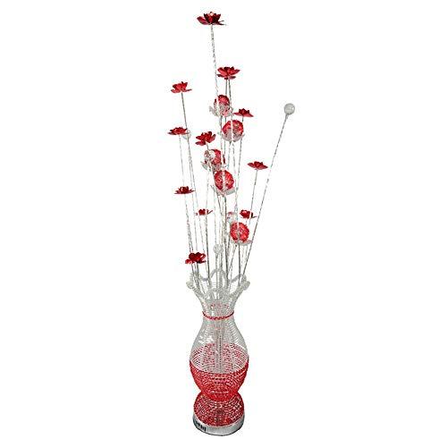 Moderne Élégant Lampadaire Design Fleurs avec Vase en Métal - Base Aluminium - Lampes sur Pied Vase Design 0.5W LED Perles avec Pétale Rouge [Classe énergétique A +]