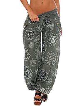 DAYLIN Mujer Pantalones Anchos Casual Suelto Impresión Pantalones con Bolsillo