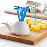 Cute White Dolphin Spray Fruit Fork Set ...