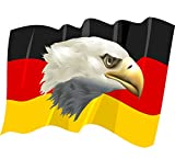 8 x 10,5 cm - Kontur geschnitten - Autoaufkleber Fahne von Deutschland wehend mit Adler Seeadler Sticker Aufkleber fürs Auto Motorad Handy Laptop