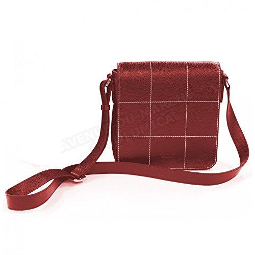Sac besace la Rochelle cuir Fabrication Luxe Française Rouge Bordeaux