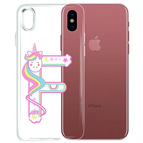 Original Lanboo® Einhorn Buchstabe Name Silikon Case Schutz Tasche Schale Hülle Etui Cover Bumper TPU mit Druck Design für iPhone 5s Motiv F