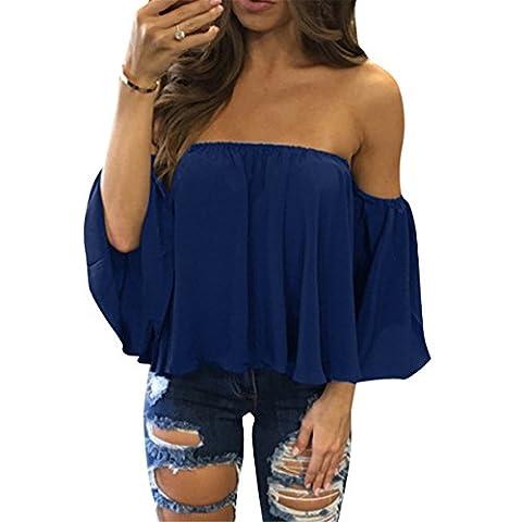 Fleasee Chic Top Femme Été Off Épaules Nues Bateau Lâche Blouse Chemise T-shirt Haut Tops avec 3/4 Manches