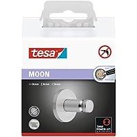 Tesa Moon Haken zum Kleben (Edelstahloptik, inkl. Klebelösung, rostfrei, belastbar bis 5kg, 36mm x 36mm x 36mm)