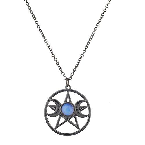LUX Zubehör Doppel Crescent Moon Pentagramm blueopal Celestial Charm Halskette (Samt-rosa Kleid Kleine)