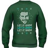 New Indastria Felpa Girocollo Unisex Stile Maglione di Natale Narcos Pablo Escobar Let It Snow- Divertente - S-Verde Foresta