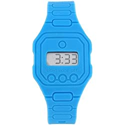 Pixelmoda Unisex Digital With Backlight Blue Trendy Flat Silicone Strap Watch