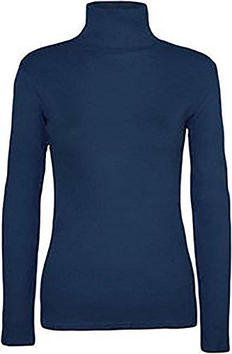 NOUVELLES DAMES DE WOMENS MANCHES LONGUES POLO COL ROULÉ PULLS TAILLE UK 8-26 Bleu Marine