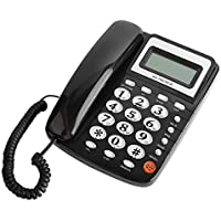 ASHATA Schnurgebundes Telefon/Schnurtelefon, LCD Display FSK/DTMF Anrufer ID Analog Telefon,Noise Cancelling 24 Klingelton Telefon Festnetztelefon Schnurtelefon für Home Office Hotel Schwarz