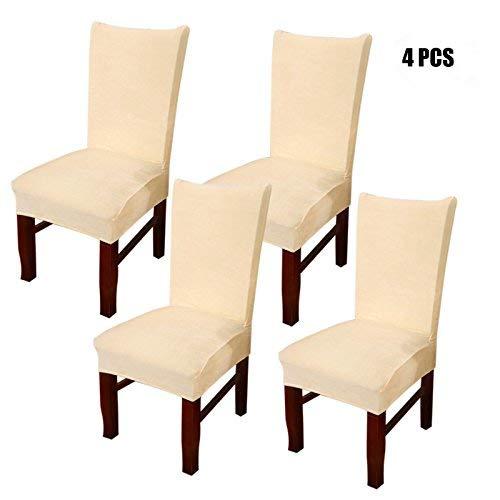 Stuhlabdeckung Dewel Universal Stretch Fox Stapel Stoff Esszimmerstuhl Bezüge elastischen Stuhl Protector (Beige)